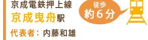 京成電鉄押上線京成曳舟駅 徒歩約6分 代表者 内藤和雄